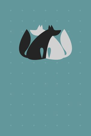 Universal Background for Card with Two Sitting Wolfs or Dogs