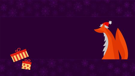 Christmas Greeting Card. Fox with Santa Hat and Presents on Violet Background with Snowflakes and Place for Text. ForExample: Greeting Card or Nameplate.