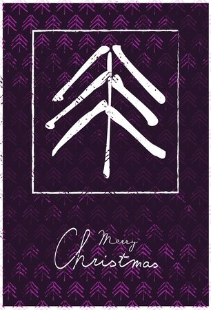 Christmas Greeting Card with Symbol of Coniferous Tree and Handwritten Text on Lila Background with Texture. Stock Illustratie
