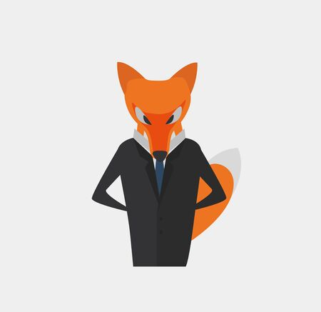 Businessman - Fox as a Symbol of Cleverness and Craft. Element for Info Graphic, Corporation Graphic etc. Flat Design Vector Illustration.