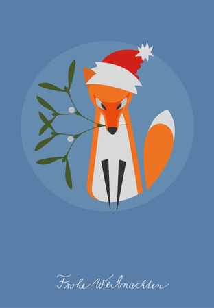 Illustrated Fox with Mistletoe Branch and Santa Hat on the Head. Designed for Christmas Card, Nameplate, etc. Handwritted German Text: Frohe Weihnachten (in English: Merry Christmas). Illustration