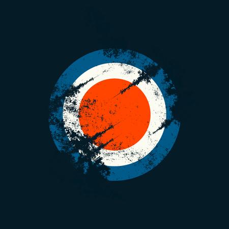 Grunge Background: Dark Cycles (Blue, White and Orange) on Dark Blue Background with Scratches. Damage Look.