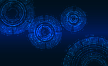 Vector Background: Abstract Cycles in Hi Tech Style. Dark Blue Background, Glowing Elements.