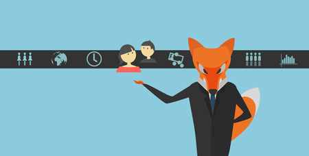 Fox Dressed in Dark Suit as a Businessman. Dark Strip with Icons with Business HR  Corporate Topics. Designed for Brochures, Infographic, Corporate Graphic Projects etc.
