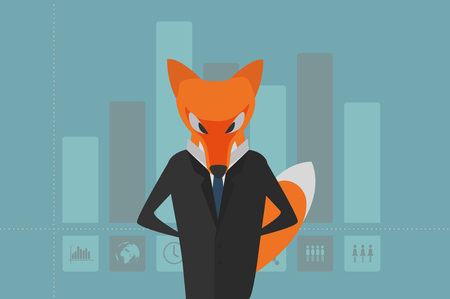 The Fox as manager in dark suit withcolumn graph with vector icon. Men, women, the Earth on the background. Usable for brochures, infographic, corporate graphic etc. flat design.