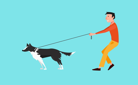 Young man walk the fog (Black and white border collie). The dog pulls on a leash. Flat design vector illustration.