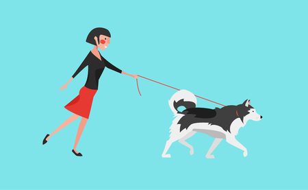 Young woman walk the dog (Grey malamute). Flat design vector illustration.