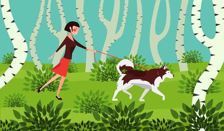 Young woman walks the dog flat design. Vector Illustration