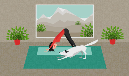 The Young Woman Practicing Yoga. The White Dog Stretching Itself in the Same Position. Downward Facing Dog Pose - Adho Mukha Svanasana. Stock Photo