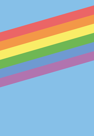 Rainbow Strips on Light Blue Background.