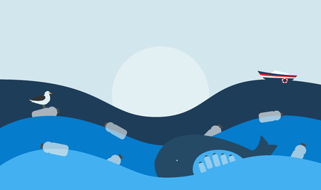 Vector Illustration. Poster with Ecological Theme: Plastic Pollution of the Ocean. The Whale with Plastic Bottles in Stomach, The Seabird sitting on Flowing Plastic Bottle. Иллюстрация