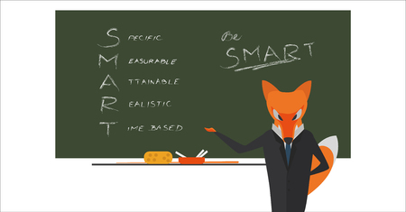 Fox manager in front of board with text smart criteria for your goals.