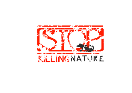 Label with text Stop Killing Nature. Grungy Red Stamp.
