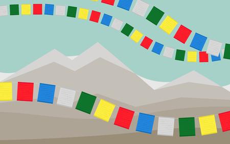 Les montagnes avec des drapeaux de prière tibétains colorés.