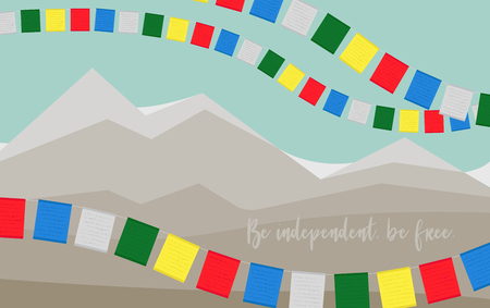 Card to International Tibet Day. Be independent, be free.  イラスト・ベクター素材