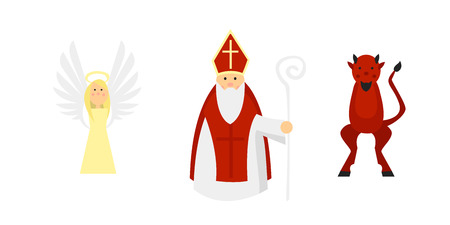 Isolated Characters According to the European Tradition: Saint Nicholas with Angel and Devil. Illustration
