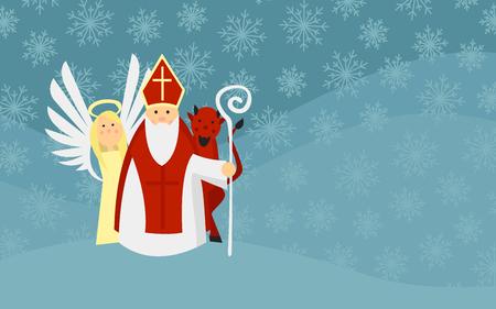 Sinterklaas met engel en duivel in sneeuwlandschap. Europese traditie.