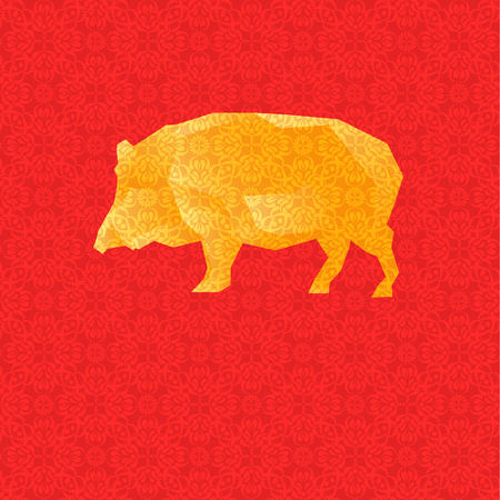 Vector Illustration. Golden Low Poly Pig on Red Background with Ornamental Texture. Designed for Greeting Cards to Chinese New Year etc.