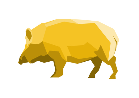 Low Poly graphic: Golden Pig.