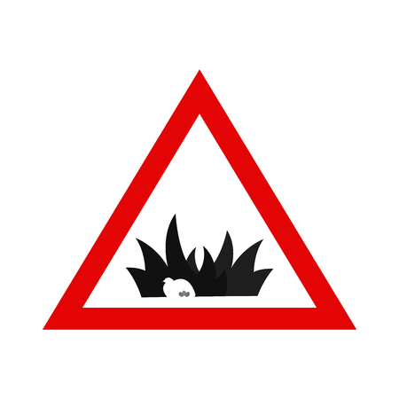 Animal Protection. Warning Sign with Nesting Bird. Simple Vector Illustration.