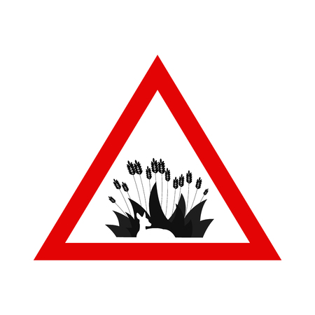 Animal Protection. Warning Sign with Deer Hidden in the Grass. Simple Vector Illustration. Deer hidden in the grass