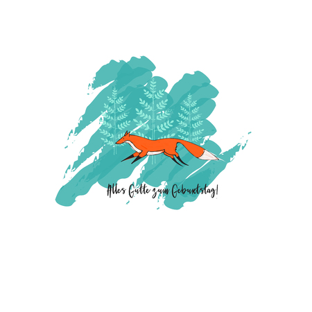 The Greeting Card with Cute Running Fox and Trees on Background. Text: Alles Gutte zum Geburtstag in English Happy Birthday. Illustration