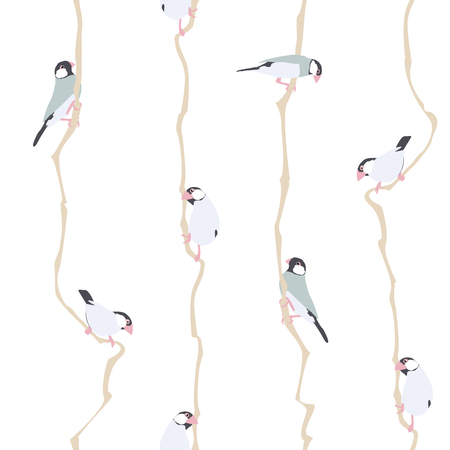 Vector Illustration: Seamless Pattern with Small Birds.