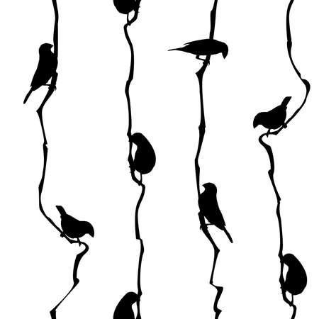 Illustration vectorielle : modèle sans couture avec de petits oiseaux. Conçu pour les impressions textiles, les papiers peints, le papier d'emballage, etc. Noir et blanc.