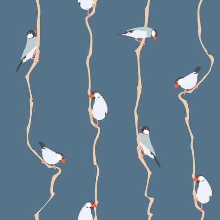 Illustration vectorielle: modèle sans couture avec de petits oiseaux. Conçu pour les impressions textiles, les papiers peints, le papier d'emballage, etc.