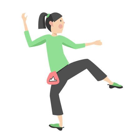 Vektorillustration mit einer kletternden jungen Frau. Vektorgrafik