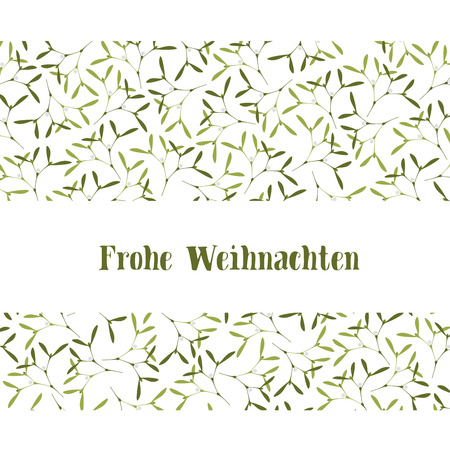 Christmas Greeting Card. Mistletoe on White Background and Text Merry Christmas. Text in German Frohe Weihnachten, in English Merry Christmas.