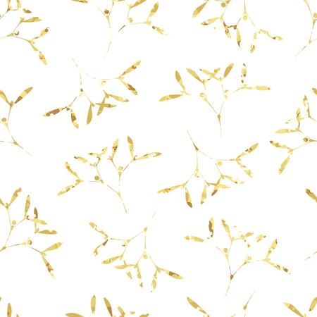 Vector Illustration, Seamless Background with Golden Mistletoe on White Background.