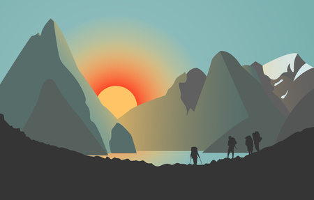 Vector Illustration of Silhouettes of men in the Mountains. Sunset over the lake. Иллюстрация