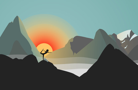 Vector Illustration: Silhouette against the Sun. Woman Practicing Yoga in the Mountains. She Is Standing in Natarajasana Position.