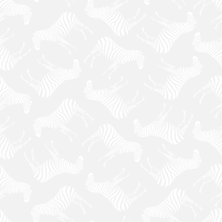 Vector Illustration. Semaless Pattern. Light Grey Background with White Inconspicuous Zebras.