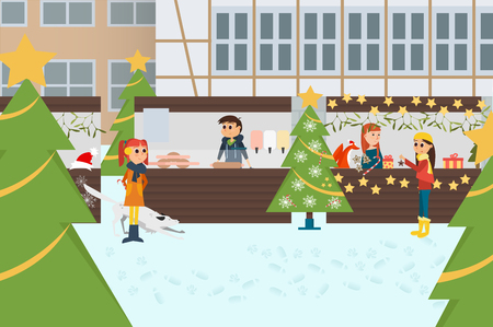 Vector Illustration with German Traditional Christmas Market.