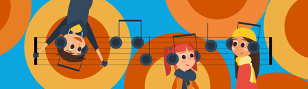 Vector Illustration: Banner with Young People listening Music with Headphones.