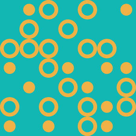 Vector Illustration: Modern Seamless Pattern with Big Yellow Cyrcles on Turquoise Background. Иллюстрация