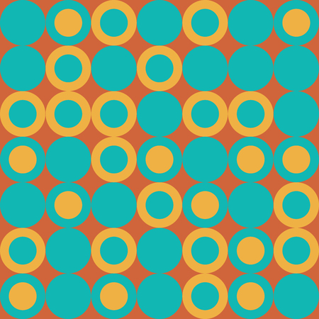 Vector Illustration: Seamless Retro Pattern with Big Yellow and Turquoise Dots on Orange Background.