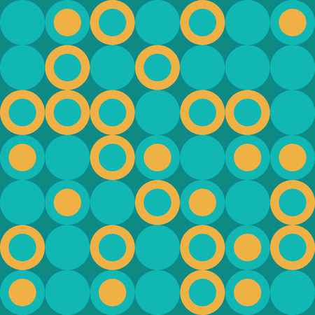 Vector Illustration: Seamless Retro Pattern with Big Yellow and Turquoise Dots. Иллюстрация