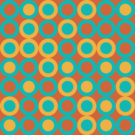 Vector Illustration: Seamless Retro Pattern with Big Yellow and Turquoise Cyrcles on Orange Background.