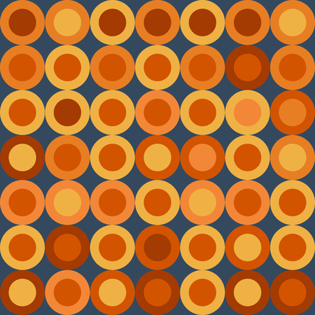 Seamless Retro Pattern with Big Yellow and Orange Wheels on Dark Blue Background. Иллюстрация