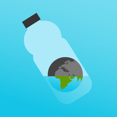 Vector Illustration: The Planet Earth in Plastic Bottle with a Little Water as a Symbol for Global Ecological Issue: Lack of Quality Water. Иллюстрация