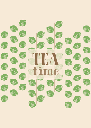 Floral Card Designed for Tea, Nature Lovers. Branches with Green Leaves. Text: Tea Time. Vertical Version.