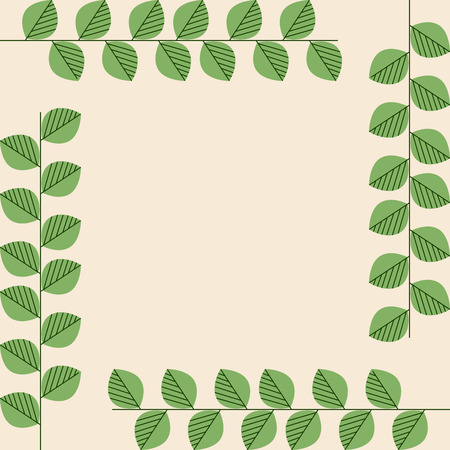 Square Card with Four Branches on the Sides. Plant, Herbal, Tea Branches. Vector Illustration.