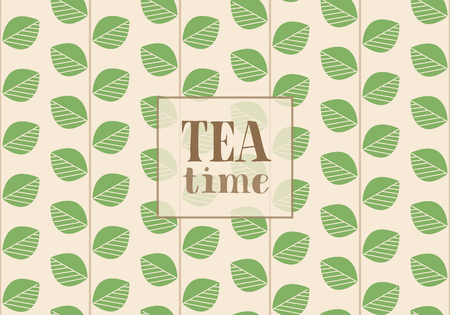 Floral Card Designed for Tea, Nature Lovers. Branches with Green Leaves. Vector Illustration. Text: Tea Time.