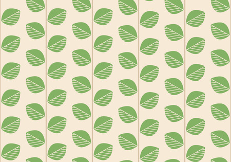 Floral Seamless Background. Branches with Green Leaves. Vector Illustration.