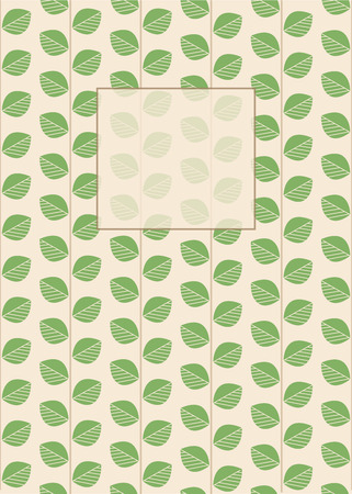 Floral Card, Cover Designed for Tea, Nature Lovers. Branches with Green Leaves. Place for Text. Vertical Version.
