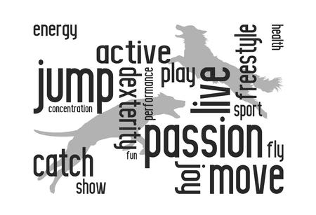 Illustration vectorielle. Art de texte de chien conçu pour les affiches, les invitations à la compétition et plus encore. Silhouettes de chiens.