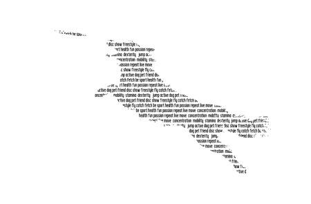Silhouette de chien remplie de mots. Jumping Border Collie attraper un disque. Illustration vectorielle.